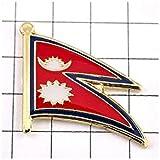 ピンバッジ ネパール国旗デラックス薄型キャッチ付き ピンズ NEPAL FLAG ピンバッチ