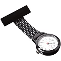 Stainless Steel Nurse Watch Pin on Brooch Quartz Fob Medical Pocket Watch for Man and Women Black