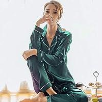 c577762368 UerBone - Autumn Women Ladies Sexy Satin Silk Pajamas Sets Long Sleeve  Tops+Pants Sleepwear