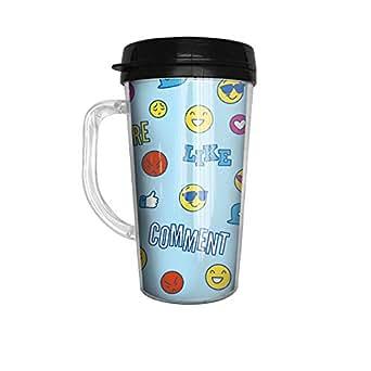 顔文字と面白い言葉 おしゃれ フタ付き 取っ手付き マグ タンブラー コーヒーカップ 450ml