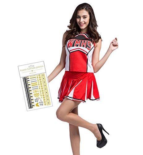 チアガール コスプレ3点セット チアリーダー衣装 コスチューム 仮装 赤 白 ユニフォーム 制服 (Mサイズ)