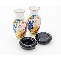 【Odoria ミニチュア雜貨】1/12 2点セット 陶器製 花瓶 フラワーベース 神話花柄 花器 ドールハウス インテリア