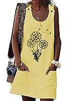 Tootess 女性リラックスリネンタンポポプリントノースリーブショートドレス Yellow 2XL
