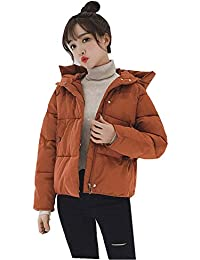 Hapyy ダウンコート レディース 綿 ダウンジャケット ショート丈 軽量 フード付き 冬アウター 無地 防寒 スリム 大きいサイズ 秋冬