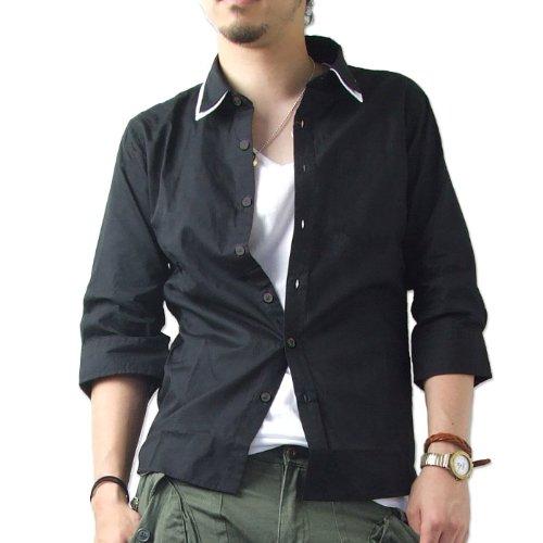 (アンセム) ANTHEM レイヤードデザイン7分袖カラーシャツ(011l6839) (L, ブラック)