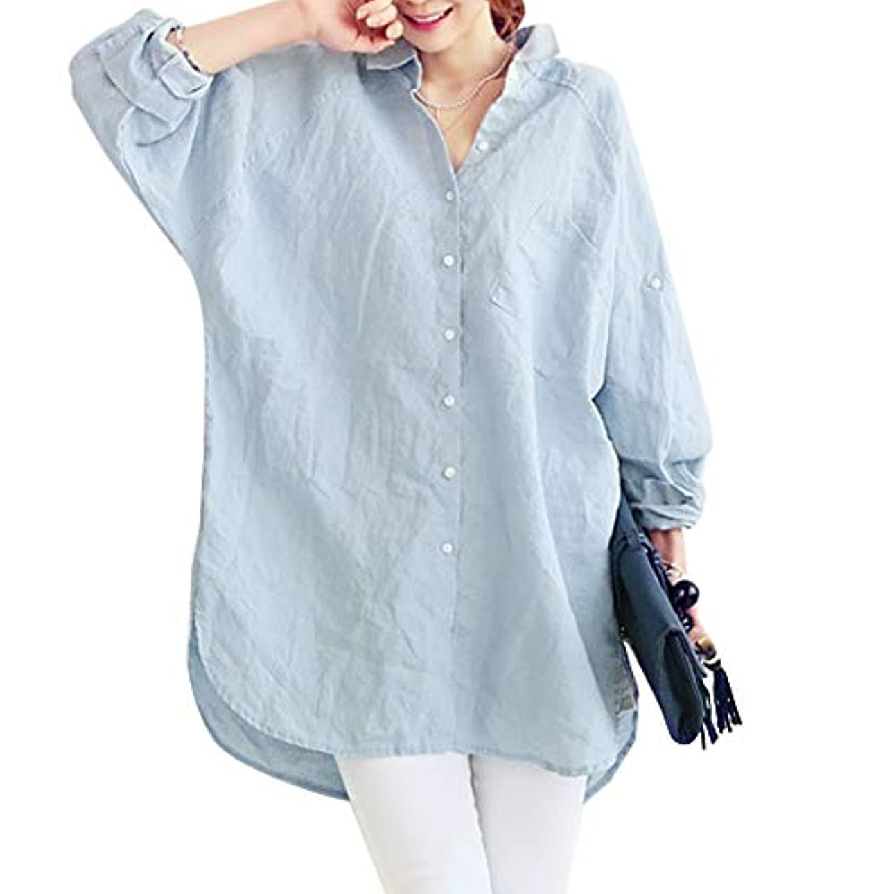 十年降下コジオスコ[ココチエ] シャツ ワンピ レディース ブラウス 長袖 ロング 水色 白 大きいサイズ おおきいサイズ おしゃれ ゆったり 体型カバー 前開き
