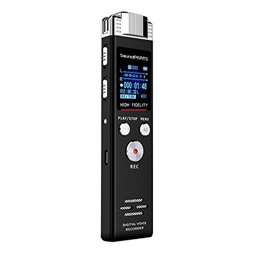 SoundPEATS(サウンドピーツ) Nano6 ボイスレコーダー 小型 ICレコーダー 高音質 リニアPCM対応 ワンプッシュ録音 8GBメモリ内蔵 高感度マイク 音楽再生機能付き スピーカー搭載 音声レコーダ 【1年間保証&日本語説明書付き】ブラック