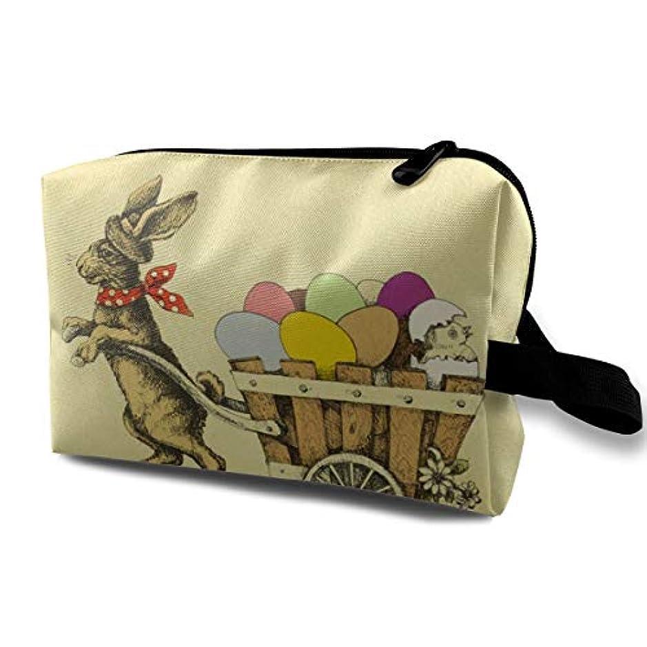 スリル仮定、想定。推測寛解Easter Rabbit Pulling A Cart With Eggs 収納ポーチ 化粧ポーチ 大容量 軽量 耐久性 ハンドル付持ち運び便利。入れ 自宅?出張?旅行?アウトドア撮影などに対応。メンズ レディース トラベルグッズ