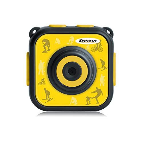 DROGRACE キッズカメラ IP68防水30Mまで 1.77インチ 1080P録画 日本語説明書 スポーツ柄 イェロー