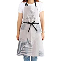 Idopy Stylish Leaf Printed Bohemian Women`s Painters Cooking Apron for Kitchen Cleaning BBQ Shop With 1 Pocket