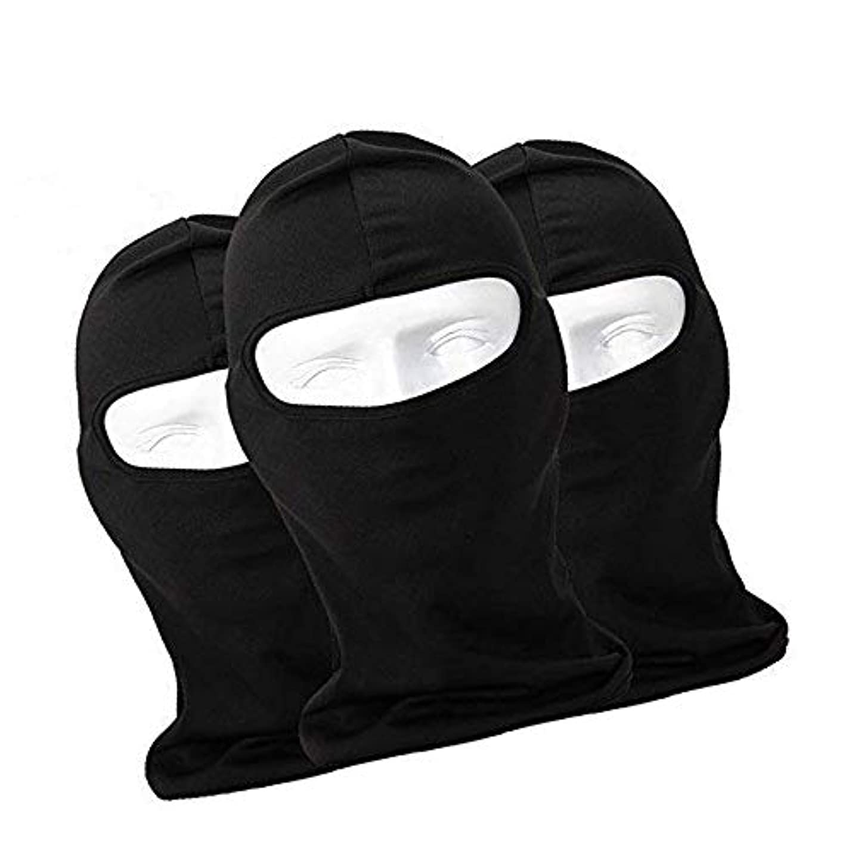 モットーパラメータ比較フェイスマスク 通気 速乾 ヘッドウェア ライクラ生地 目だし帽 バラクラバ 保温 UVカット,ブラック,3枚