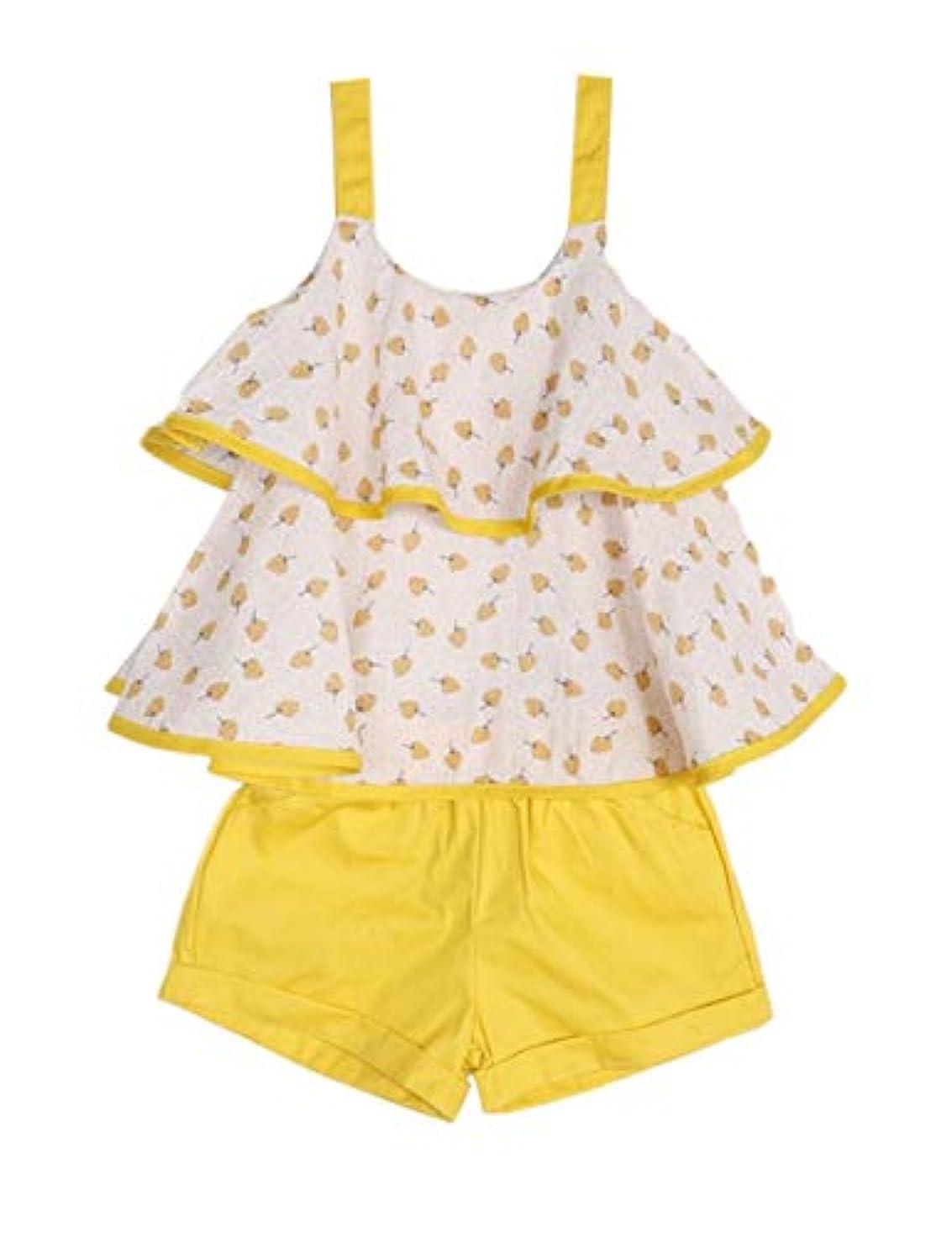 データム航海パスタ幼児 赤ちゃん 女の子 服 ダブルレイヤー ストラップ フローラル ベストとショーツ サマー フリル アウトフィットセット