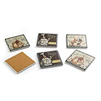 ranferryドリンクコースターセットforパーティーFavors ( Pack of 6)、バー、セラミック仕上げとコルク下を保護する家具 ブラウン