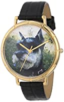 Whimsical Watches Schnauzer Black Leather and Goldtone Photo Unisex Quartz Watch with White Dial Analogue Display and Multicolour Leather Strap N-0130066