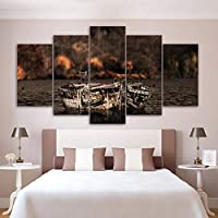 Xueshao 家の装飾キャンバス絵画Hd漁船5ピース海壁アートリビングルームモジュラー写真風景アートワークポスター-30X40Cmx2 30X60Cmx2 30X80Cmx1