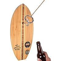 Tiki Toss フックとリングトス ゲームボトルオープナーエディション – 100%竹製パーティーゲーム 屋内または屋外の家族で楽しめます (すべての部品が含まれています)
