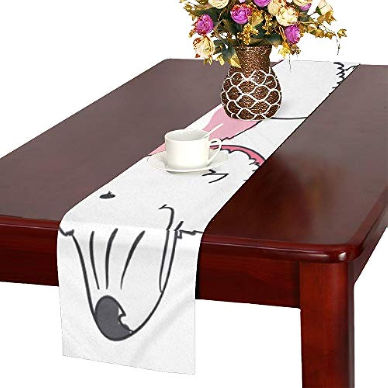 GGSXD テーブルランナー 面白い サモエド犬 クロス 食卓カバー 麻綿製 欧米 おしゃれ 16 Inch X 72 Inch (40cm X 182cm) キッチン ダイニング ホーム デコレーション モダン リビング 洗える