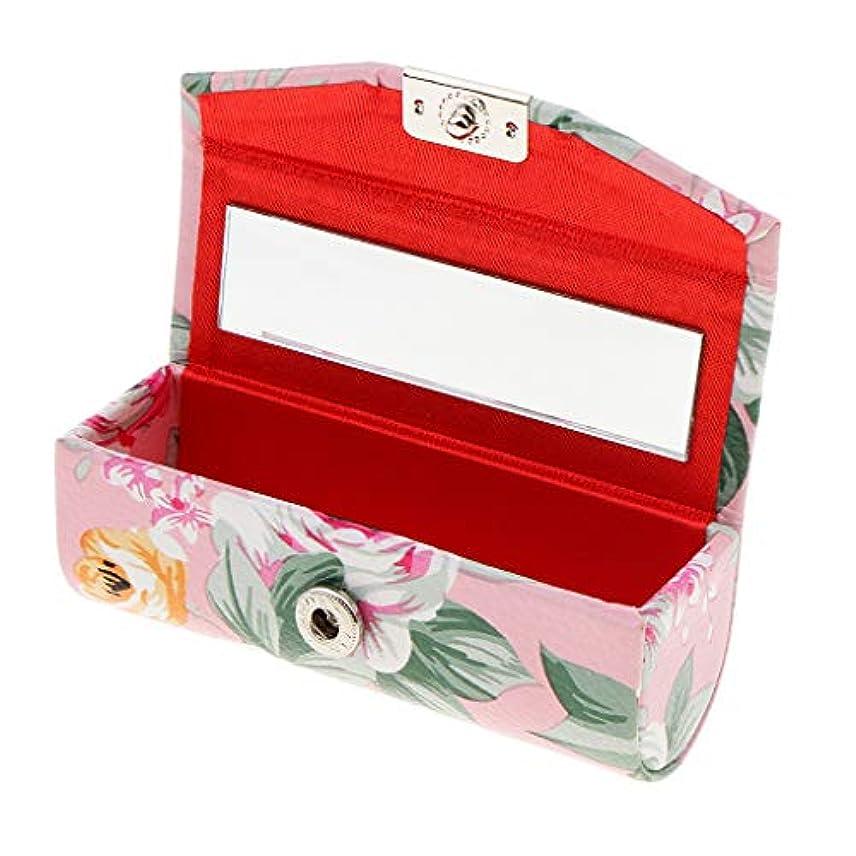 種をまく劣るピンリップスティックケース ミラー付き 革製 宝石 メイクアップ 口紅 メイクアップ 収納ホルダー 5色選べ - ピンク