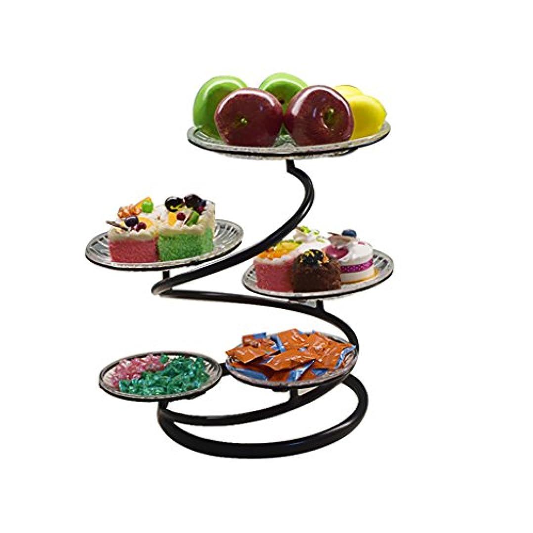 細断職業例示する5層の錬鉄製のケーキフレーム、リビングルームホームドライフルーツプレート、フルーツプレート午後のティーケーキラックウェディングデザートテーブルの飾り (Color : BLACK)