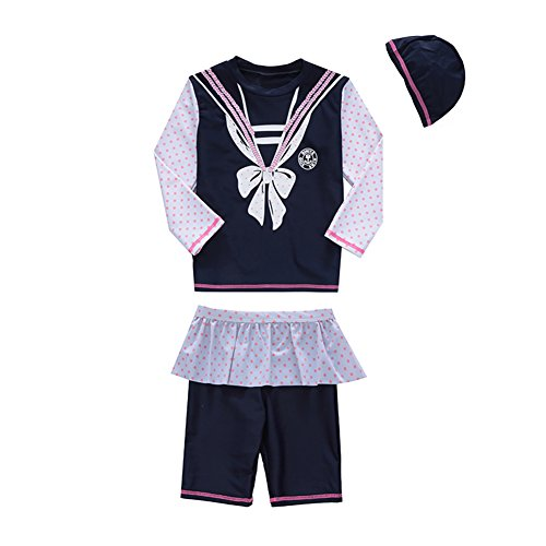 子供 水着 女の子 可愛い UVカット セパレート3点セット 2-8歳 スイムキャップ 長袖トップス ハーフパンツ 110-120cm