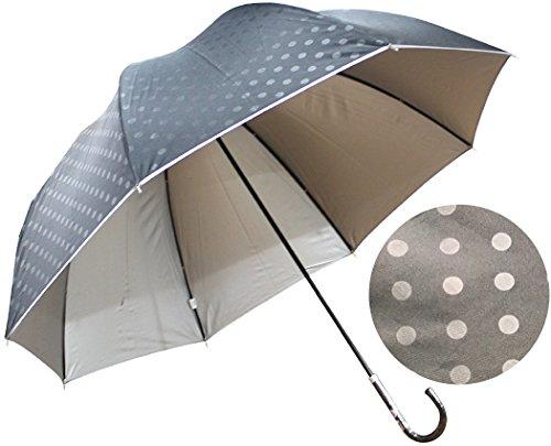 [해외]큰 사이즈의 청우 겸용 양산 돔형 UV 컷 99 % 물방울 무늬 60cm 손 포장 우산 (블랙)/Rain and rain combined use with large size Domestic UV cut 99% Polka dots 60 cm Opening umbrella (black)