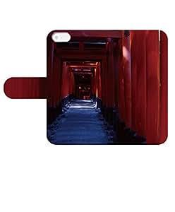 iPhone 5C ケース アイフォン 5c 手帳型 ケース iphone シリーズ カバー スマートフォンケース スマホケース 名入れ 文字入れ 縦型 Apple きれい 写真 風景 鳥居 千本 稲荷