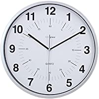 Kiera Grace Synchro Silent Wall Clock, 12-Inch, 3/4-Inch Deep, Pack of 6 , Silver [並行輸入品]