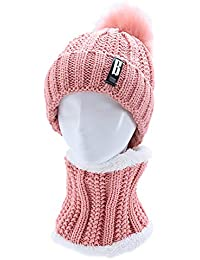 2Pcs Women Winter Hat Fur Lined Beanies Cap & Neck Warmer Skullies Beanie Hat Pompom Knitted Hat