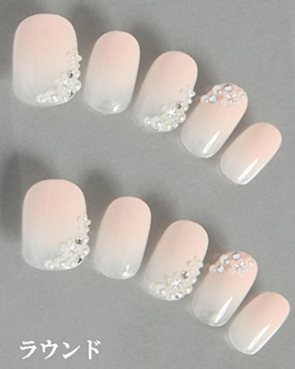 ヒューズ前進地雷原ゆずネイル|ネイルチップ 薄ピンク 花 シンプル(B04001-R-CCP)