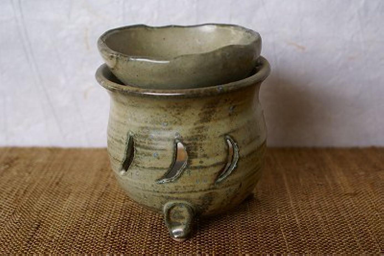 直感矢じり甘味信楽焼 茶香炉 月 サイズ:約直径9.5×10cm
