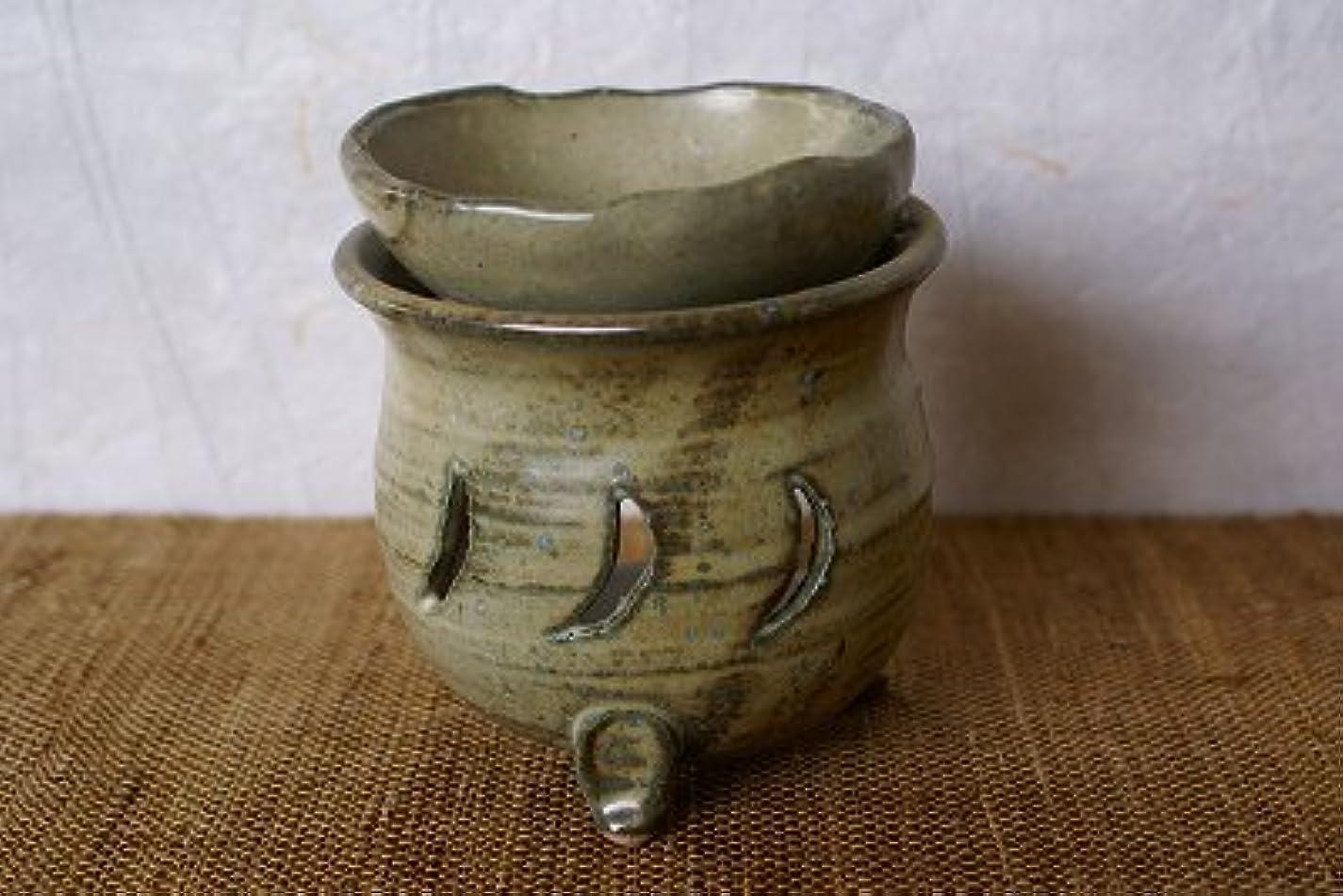 請う年次手足信楽焼 茶香炉 月 サイズ:約直径9.5×10cm
