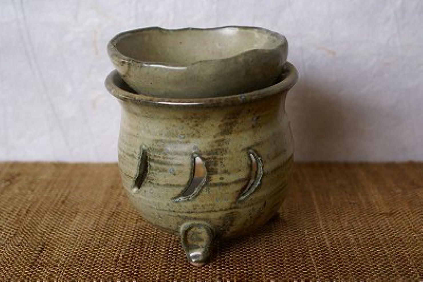 平野コモランマ商標信楽焼 茶香炉 月 サイズ:約直径9.5×10cm