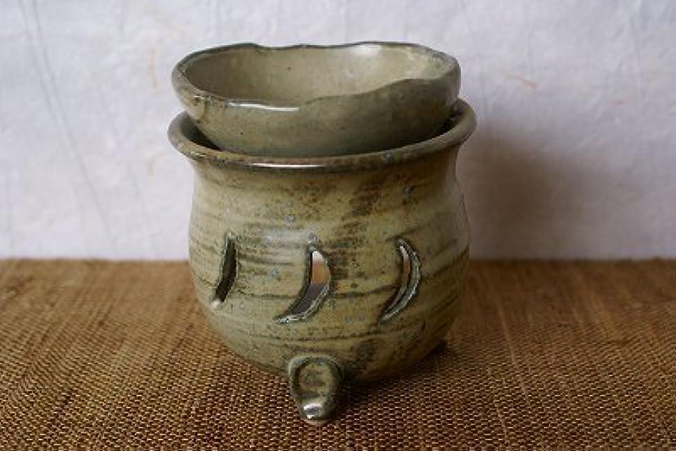 スリップ森くぼみ信楽焼 茶香炉 月 サイズ:約直径9.5×10cm