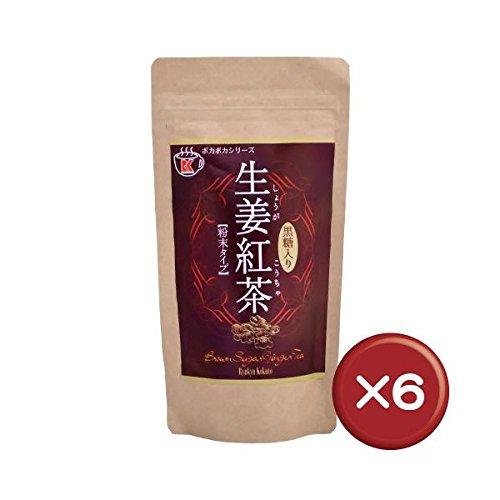 ポカポカ生姜紅茶 (黒糖入り) 粉末タイプ 180g×6袋 琉球黒糖 沖縄県産黒糖にほどよい辛味のあるショウガをブレンドしたジンジャーティー 冷え性の方や沖縄土産におすすめ