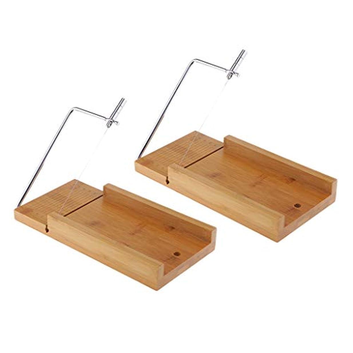 天窓乳白色磨かれたソープカッター チーズナイフ ワイヤー せっけんカッター 台 木質 石鹸切削工具 2個入り