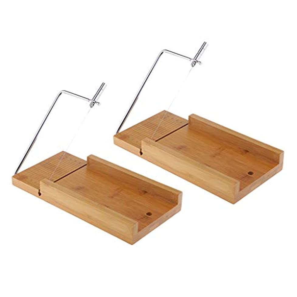 Perfeclan 木質 せっけんカッター 台 石鹸のカッター ワイヤー ソープスライサー チーズナイフ 石鹸作り 2個入り