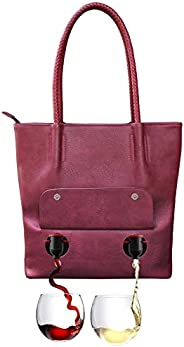 "PortoVino""Double Pour"" Tuscany Vegan Leather Tote (Merlot) - Fashionable Purse With Hidden, Insulate"