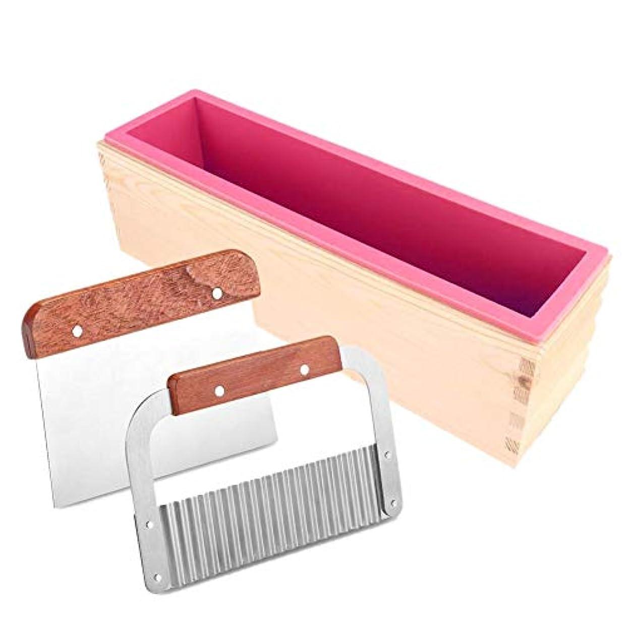 スクリーチ熟達したアライアンスRagemのシリコーンの石鹸型 - 自家製の石鹸の作成のための2Pcsカッターの皮むき器が付いている長方形の木箱の石鹸の作成型