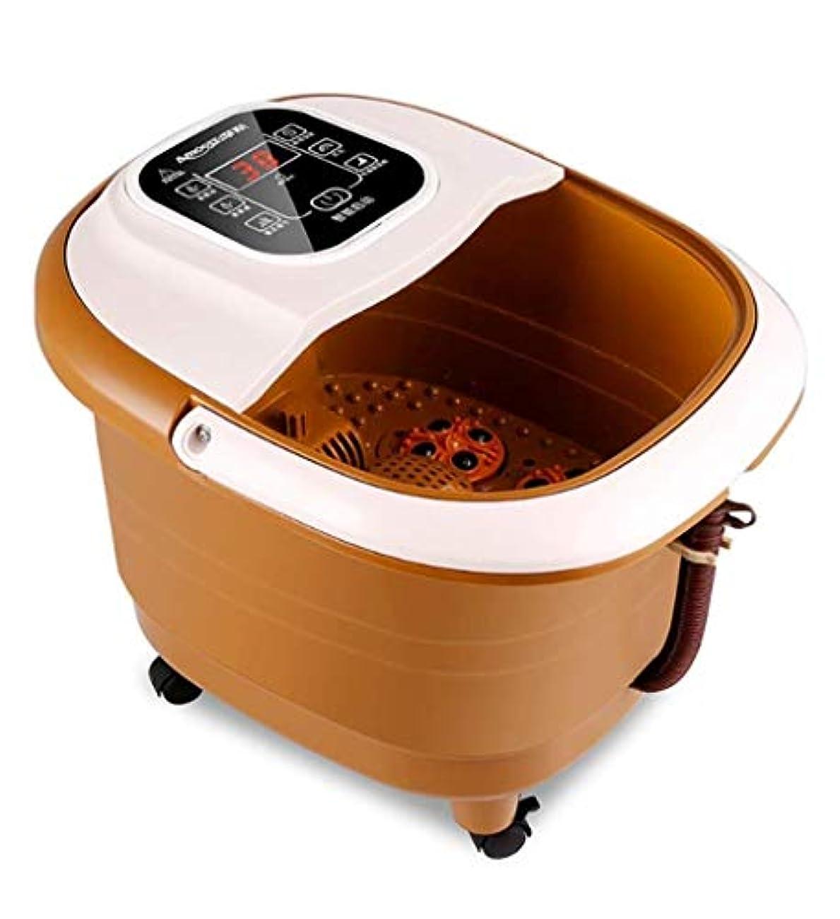 素朴なユーモア卑しい電動フットマッサージベイスン、フットスパアンドマッサージャー、加熱/磁場治療フットケア、取り外し可能なマッサージローラー、インテリジェントな水温制御、LEDディスプレイ