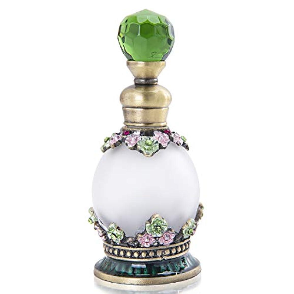 おじさんふくろうクマノミ綺麗で古そうな詰め替え香水瓶、緑クリスタル飾りのガラスボトル容器(15ml)