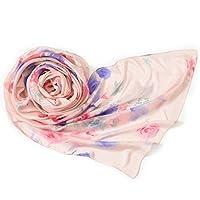 キヌフローレス 横浜 スカーフ シルク モダール 日本製 長方形 53×178 ストール 花柄 ローズシック ローズピンク