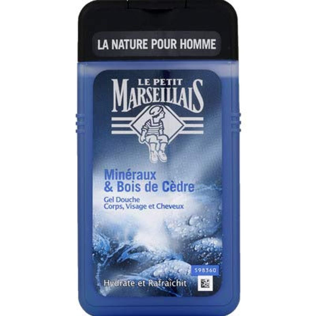十一うめき声しなやかなメンズ用 顔?髪?体 ボディウォッシュ「ミネラル」と「シダーウッド」シャワージェル フランスの「ル?プティ?マルセイユ (Le Petit Marseillais)」 250ml
