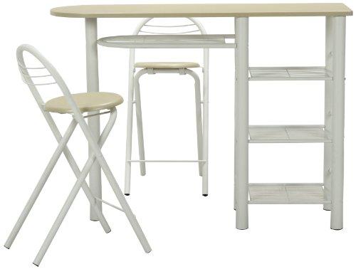 不二貿易 カウンターテーブル&チェアセット ホワイト 95246