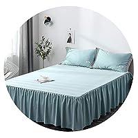 春と夏のシルク4ピースソリッドカラーの綿のベッドのトランポリンスカートセットキット寝具,ベッドスカート4点セット(水色),1.5×2メートルベッド4ピースキルトカバーサイズ200×230センチ