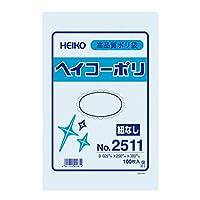 HEIKO ポリ袋 透明 ヘイコーポリエチレン袋 0.025mm厚 No.11 100枚/62-0996-64