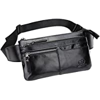 Bison Denim Classic Leather Waist Pack Fanny Pack Shoulder Backpack Sport Pouch Travel Hiking Bum Bag Handbag Black