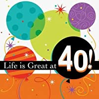 Life is Great 3-Ply 40th Birthday Lunch Napkins 16 Per Pack by Creative Converting