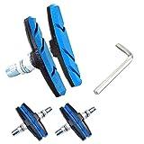Vタイプブレーキシュー パッド 自転車 マウンテンバイク用 消音 耐久 ブレーキ 70mm 左右セット*2 工具付き (ブルー)
