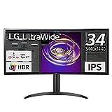LG モニター ディスプレイ 34WP85C-B 34インチ/曲面ウルトラワイド(3440×1440)/IPS 非光沢/HDR対応/USB Type-C,HDMI×2,DisplayPort/FreeSync/スピーカー搭載/高さ調節