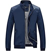Tanming Men's Color Block Slim Casual Thin Lightweight Jacket